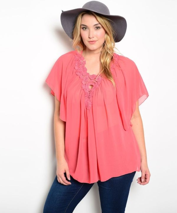 Libian Coral Lace Applique Batwings Sleeves Chiffon Sheer