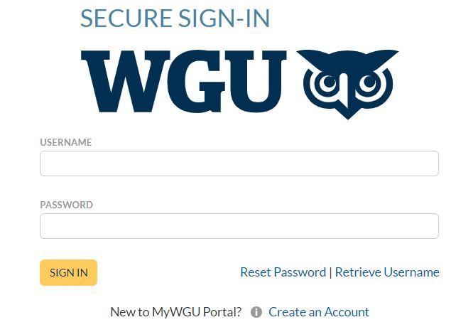 wgu student portal login page