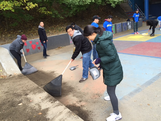 Cleaning up the Playground at the Jackson-Mann K-8 School