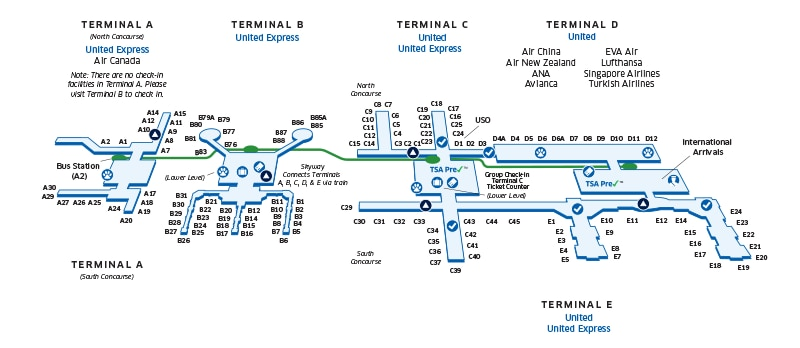 Houston Intercontinental IAH Airport Map United Airlines