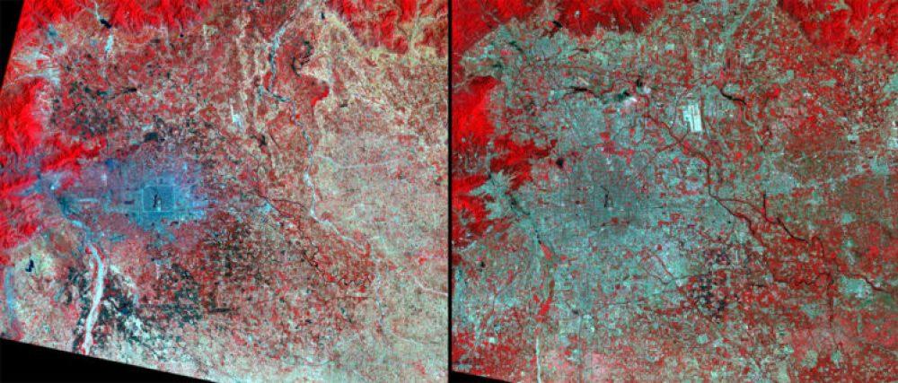 Crecimiento urbano, China (Junio 1977 – junio 2011): Estas imágenes muestran el crecimiento de Beijing de 1977 a 2011. Los tonos azules representan los edificios y el pavimento, mientras que los tonos rojos indican la vegetación natural y agrícola. En la década de 1970, muchas personas que pasaron la Revolución Cultural en el campo regresaron a Beijing, y otros vinieron en busca de trabajo. 1979 trajo un auge en la construcción de viviendas. En 2012 La población de Beijing se estima en unos 17 millones de habitantes.