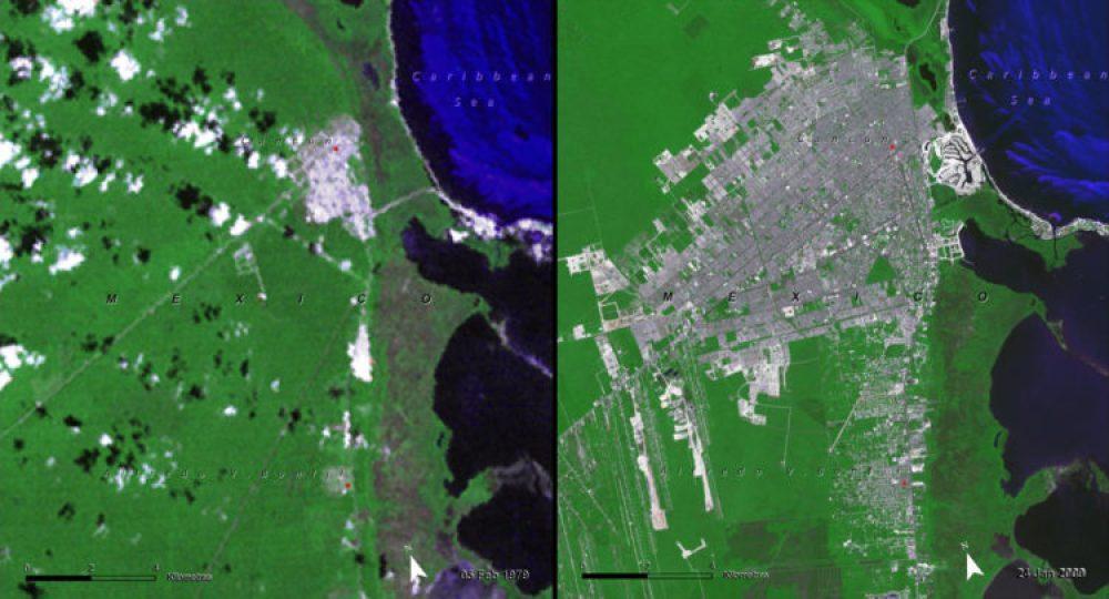 Crecimiento urbano, México (Febrero 1979 – enero 2009): Cancún era un lugar de pescadores artesanales, bosques tropicales y playas desconocidas hasta la década de 1970, cuando el gobierno mexicano trajo a gente de todo el país para transformarlo en un destino turístico de primer orden. El cambio redujo la biodiversidad, contaminó los recursos hídricos, y condujo a la acumulación de residuos sólidos y la pérdida de las costumbres y modos de vida de los residentes de toda la vida.