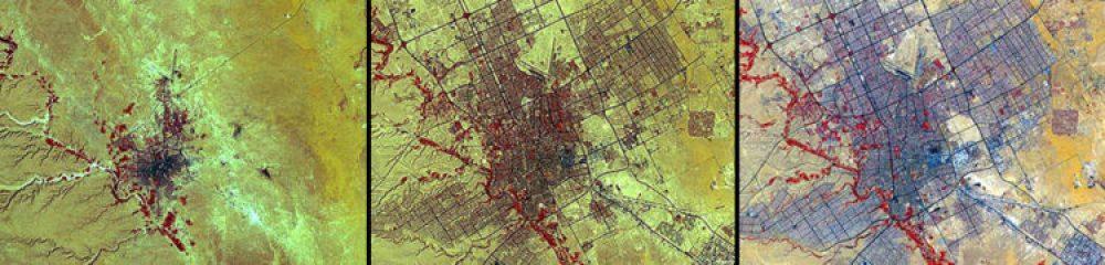Crecimiento urbano, Arabia Saudí (1972 – 1990 – 2000): En este periodo, la población de Riad aumentó su población de medio millón a más de dos millones. A principios de la década de los 70, tres veces más saudíes vivían en zonas rurales que en las ciudades. En 1990, la proporción se había invertido.