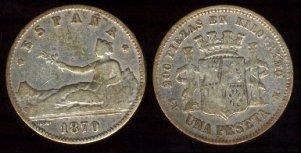 Primera moneda con facial de 1 Peseta emitida durante el Gobierno Provisional en 1870. Imagen: Wikipedia.
