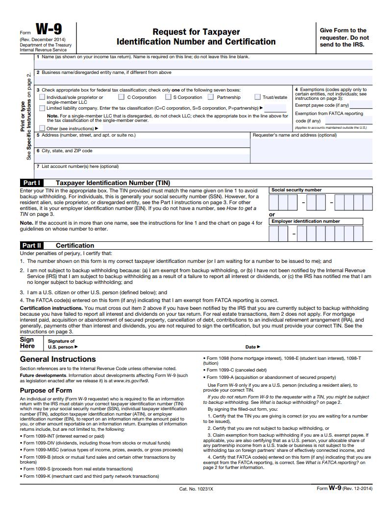 IRS Form W-9