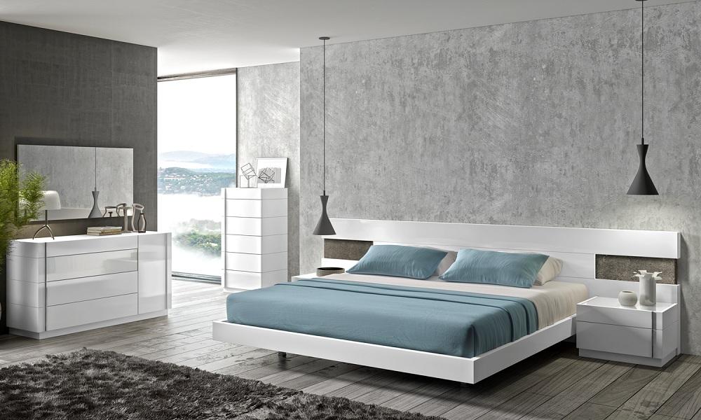 j m armora modern bedroom set in white