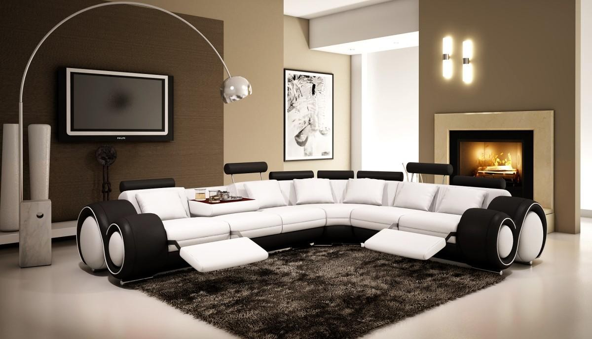 living room black leather sectional and white pictures divani casa 4087 reclining sofa in touch to zoom