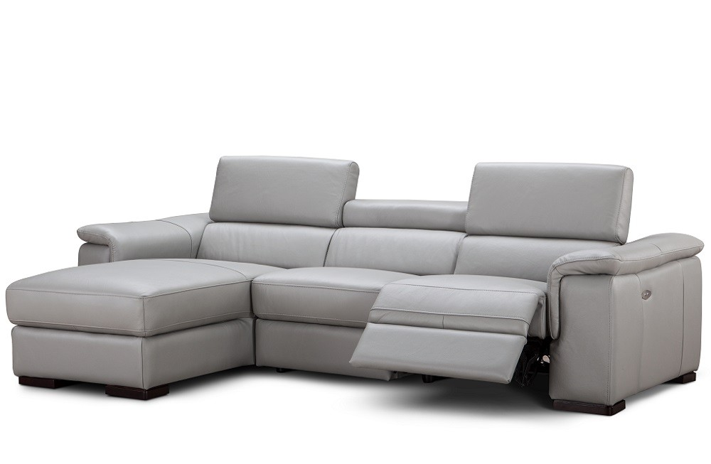 allegra reclining sectional sofa in light grey leather