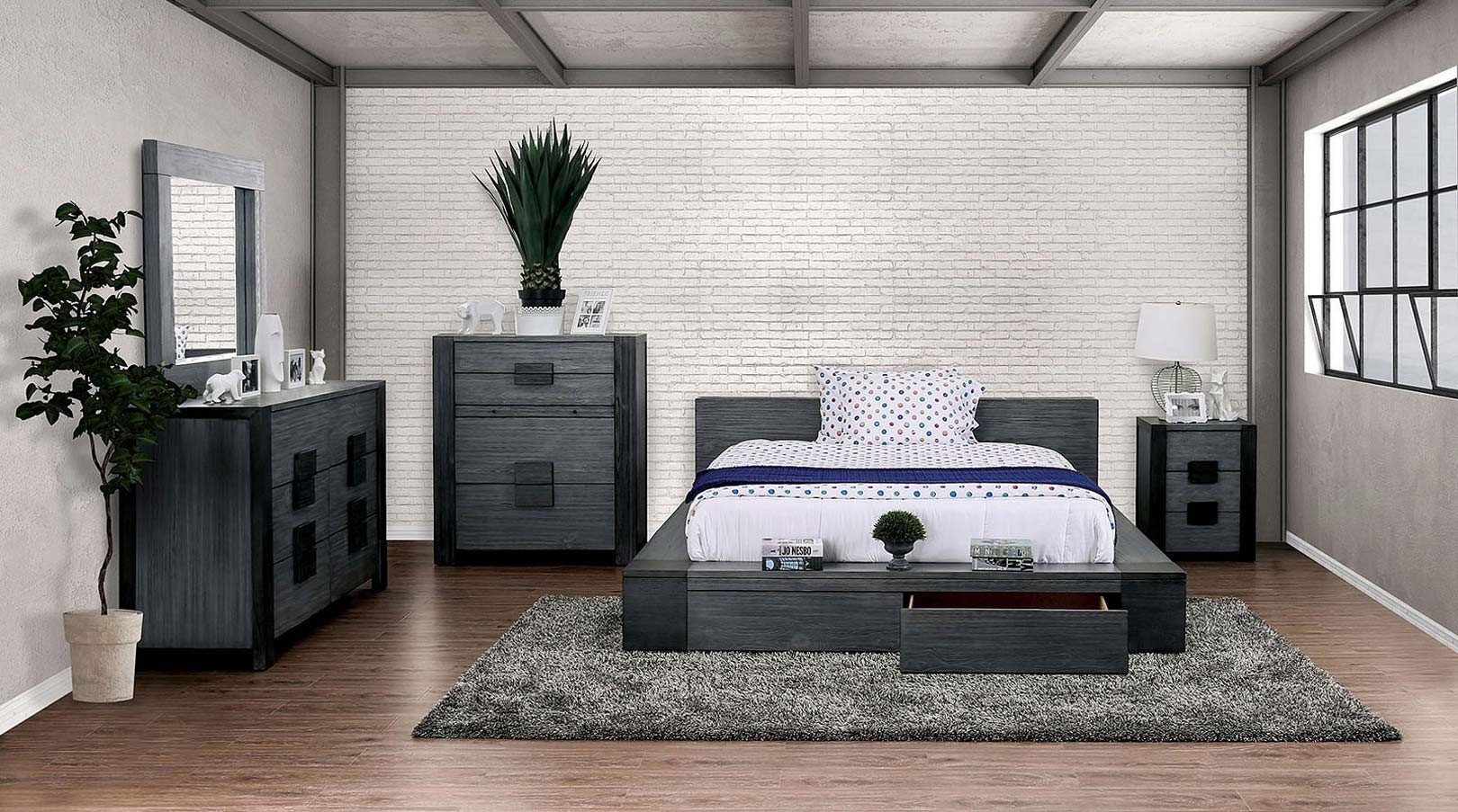 janeiro bedroom set in rustic gray and