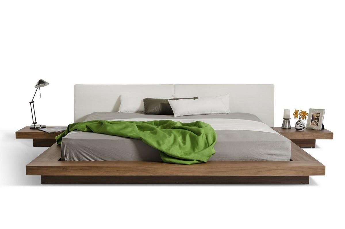 Opal Platform Bed In Walnut Wood And White Finish By Modrest