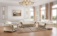 Versace Classic Living Room Set in Pearl Italian Leather