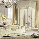 Esf Leonardo Italian Bedroom Set In Ivory And Gold Finish