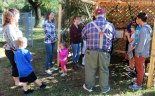 Religious school students decorated the Sukkah