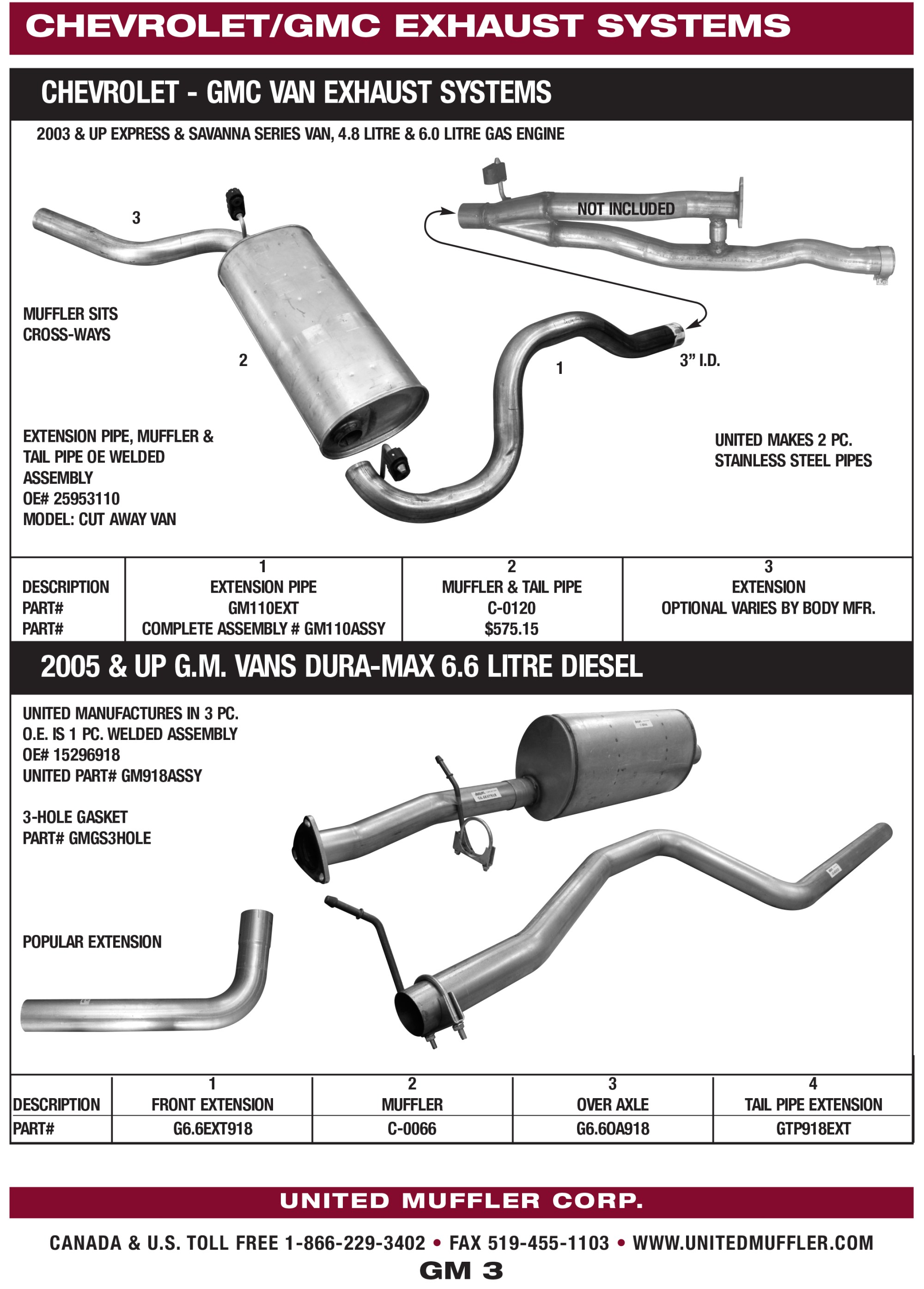 hight resolution of gm 3 chevrolet gmc van exhaust systems br 2005 up gm vans dura max 6 6 litre diesel