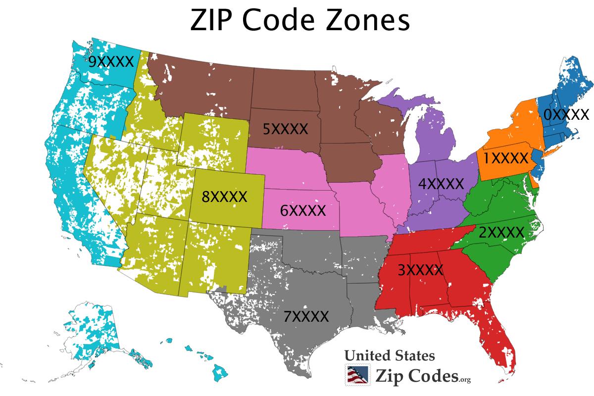 Free ZIP code map zip code lookup and zip code list