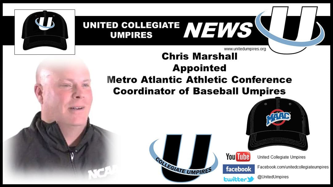 Marshall Appointed Metro Atlantic Athletic Conference Coordinator of Baseball Umpires
