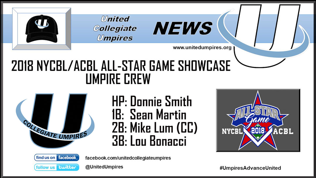 Umpires Announced for the 2018 NYCBL/ACBL All-Star Game Showcase