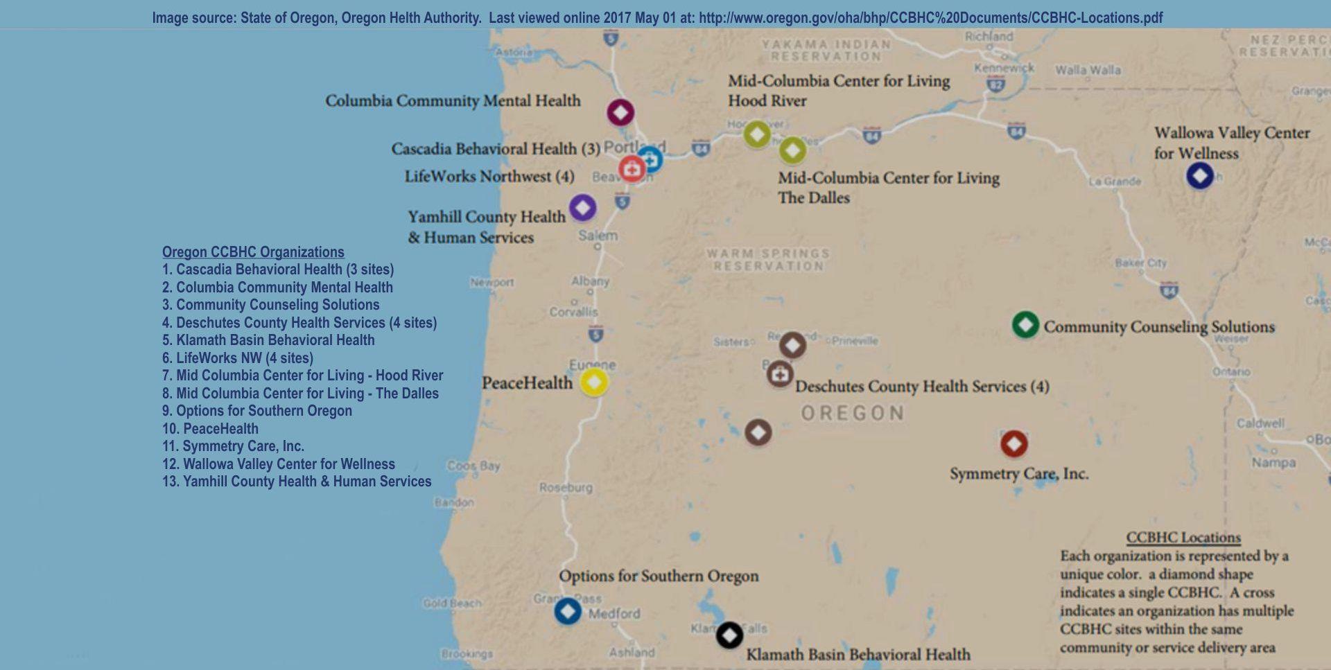 Oregon map of Certified Behavioral Health Clinics