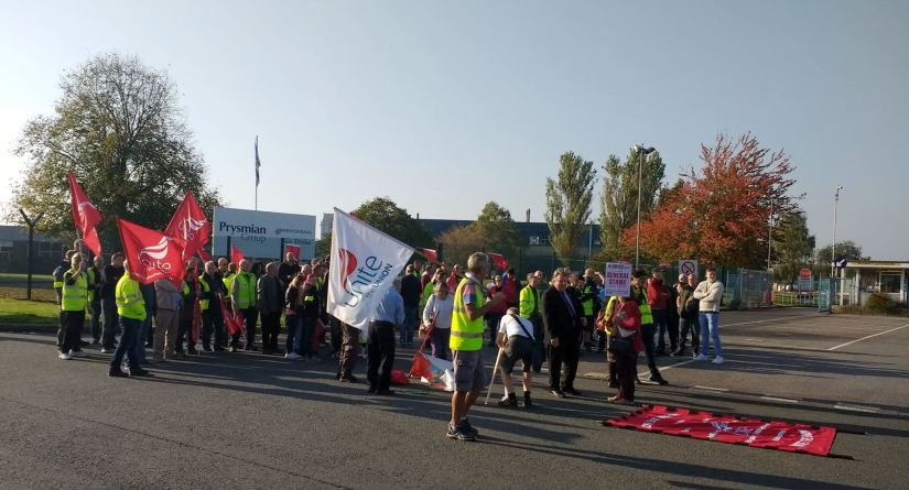unite prysmian cables picketline