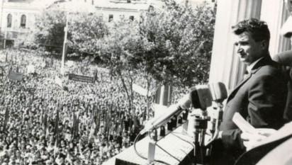 1968:  La Bucureşti s-a desfăşurat un urias miting de protest împotriva ocupării Cehoslovaciei - foto - historia.ro