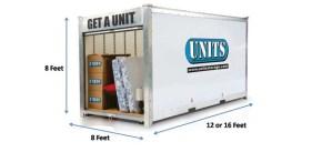 diagram of portable storage unit measurements