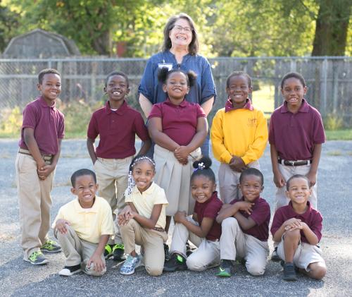 Mrs. Mary Hamrick with Kindergarten Students