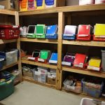 Completed shelves stocks with school supplies