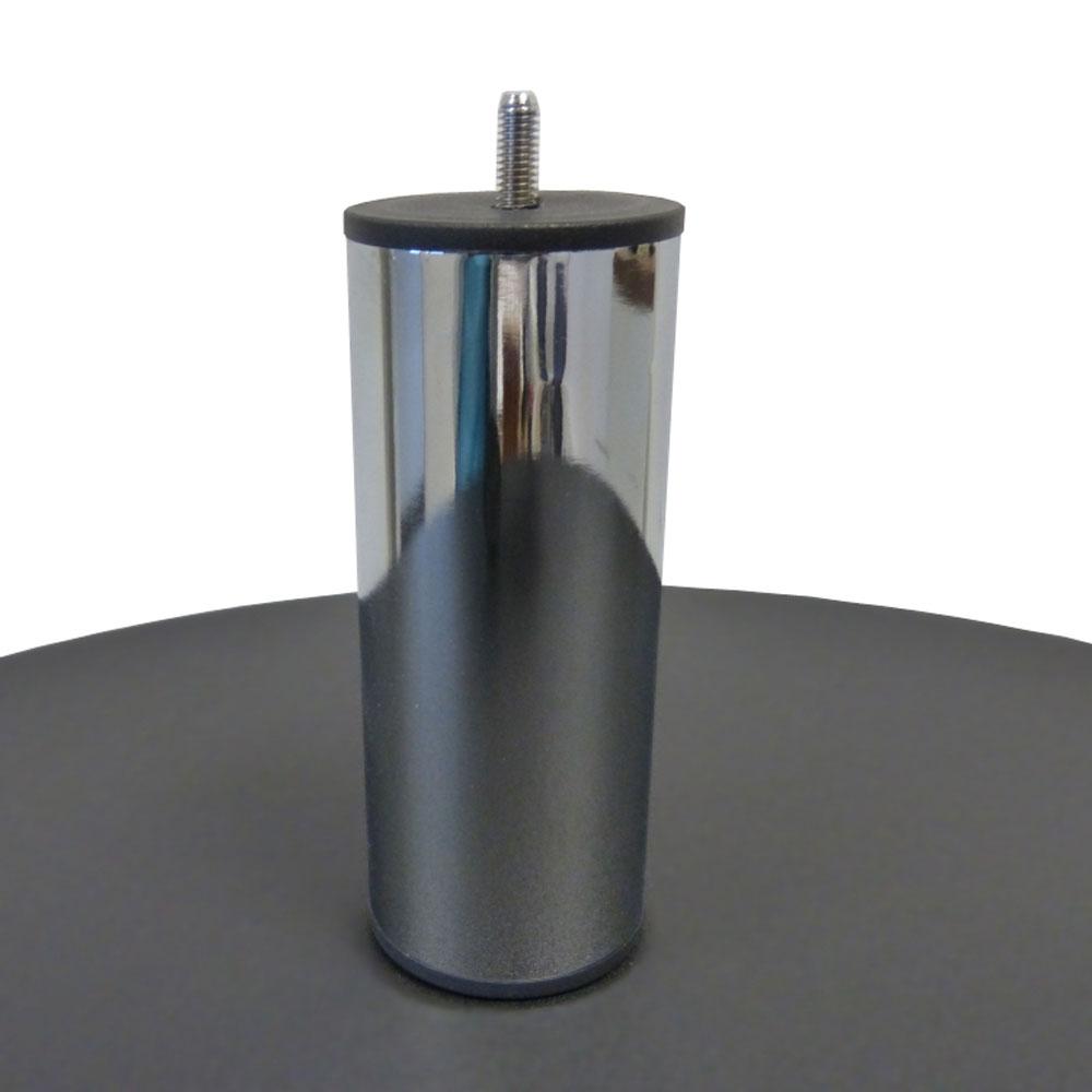 jeu de 4 pieds de lit cylindriques 15 cm chrome