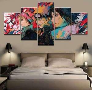 Décoration murale en 5 pièces Naruto Team 7 Painting Style