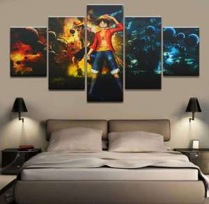 Décoration murale en 5 pièces One Piece Luffy X Ace