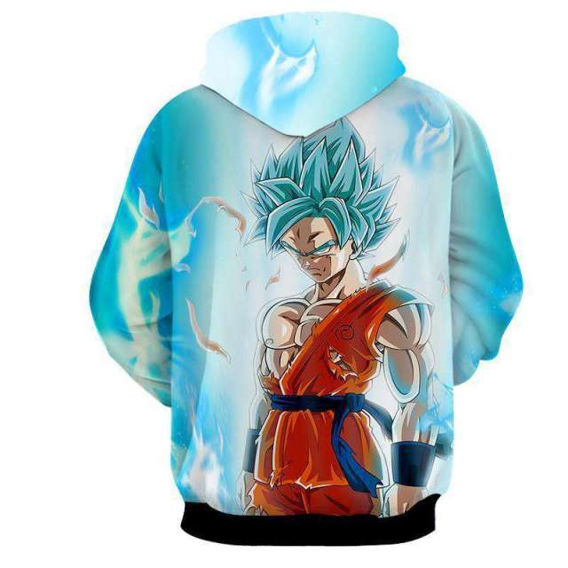 Pull à capuche 3D All Over Dragon Ball Super Goku SSJ Blue