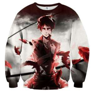 Pull classique 3D All Over Attack On Titans Eren Destiny