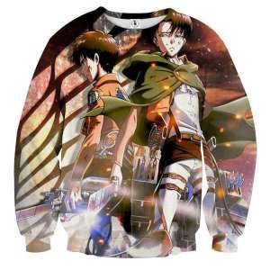 Pull classique 3D All Over Attack On Titans Eren X Rivaille