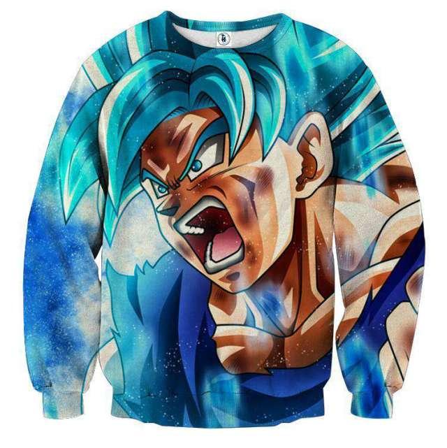 Pull classique 3D All Over Dragon Ball Super Goku Super Saiyan Blue God
