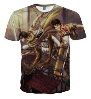 T Shirt 3D All Over Attack On Titan Eren X Rivaille