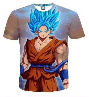 T Shirt 3D All Over Dragon Ball Super Goku SSJ Blue God