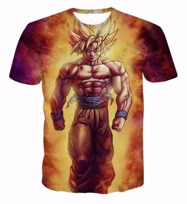 T Shirt 3D All Over Dragon Ball Z Goku Fire
