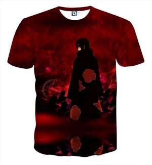 T Shirt All Over 3D Naruto Itachi Sharingan Genjutsu