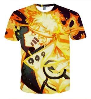 T Shirt All Over 3D Naruto Kyubi Mode Chakra