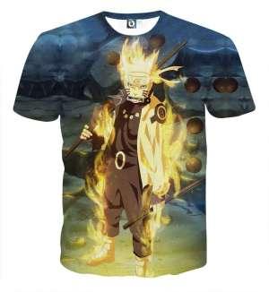 T Shirt All Over 3D Naruto Mode Chakra Kyubi