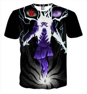 T Shirt All Over 3D Naruto Sasuke Full Power