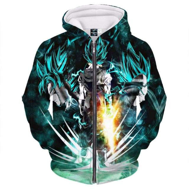 Veste à capuche 3D All Over Dragon Ball Super Vegeto Blue God