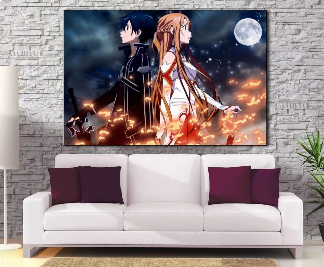 Décoration Murale Sword Art Online Kirito & Asuna