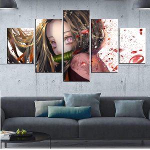 Décoration murale en 5 pièces Demon Slayer Kimetsu No Yaiba Nzuko Larmes de Sang