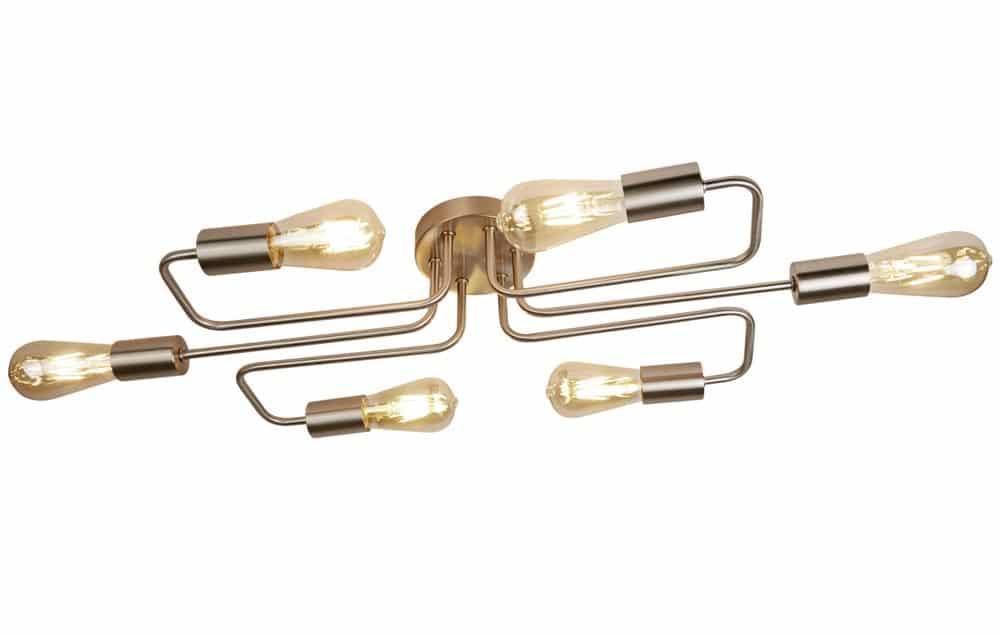 circuit 6 light flush mount ceiling light industrial style satin silver