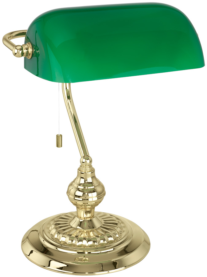 Traditional Polished Brass Banker Desk Lamp With Green