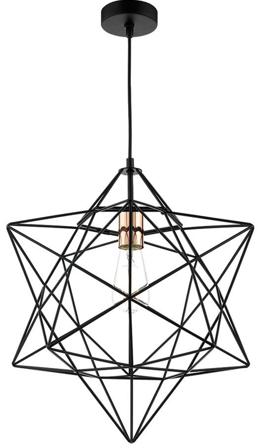 Dar Luanda 1 Light Wire Star Pendant Black And Copper LUA0122
