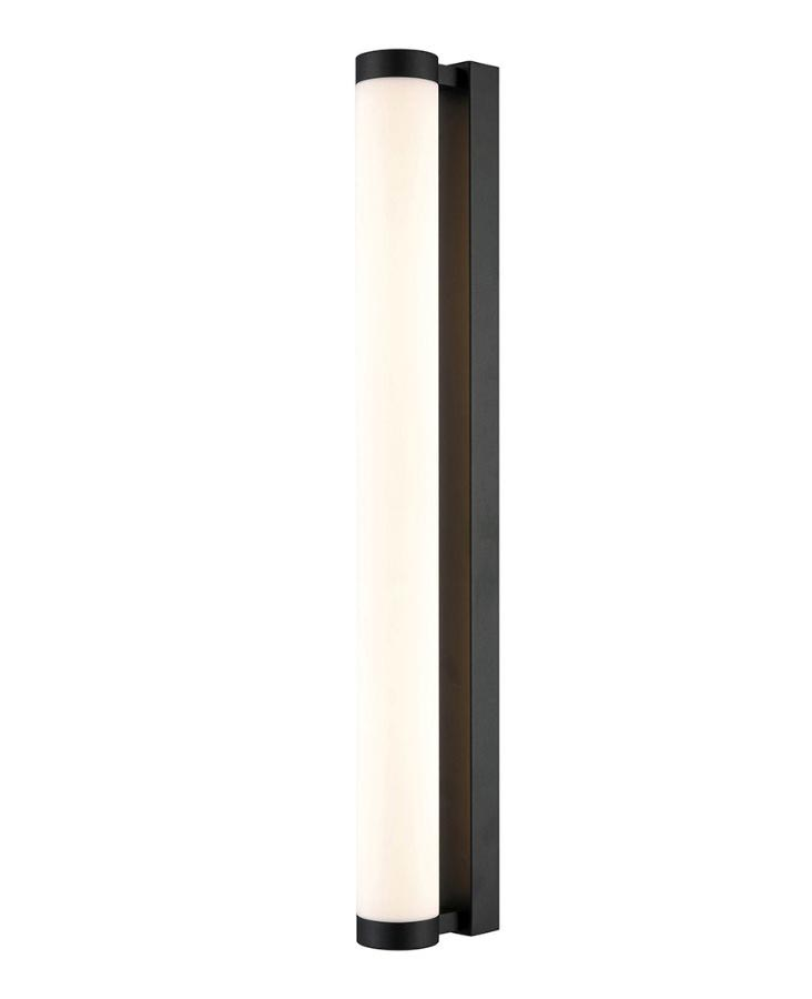 bright 645mm led bathroom wall tube light matt black opal glass ip44