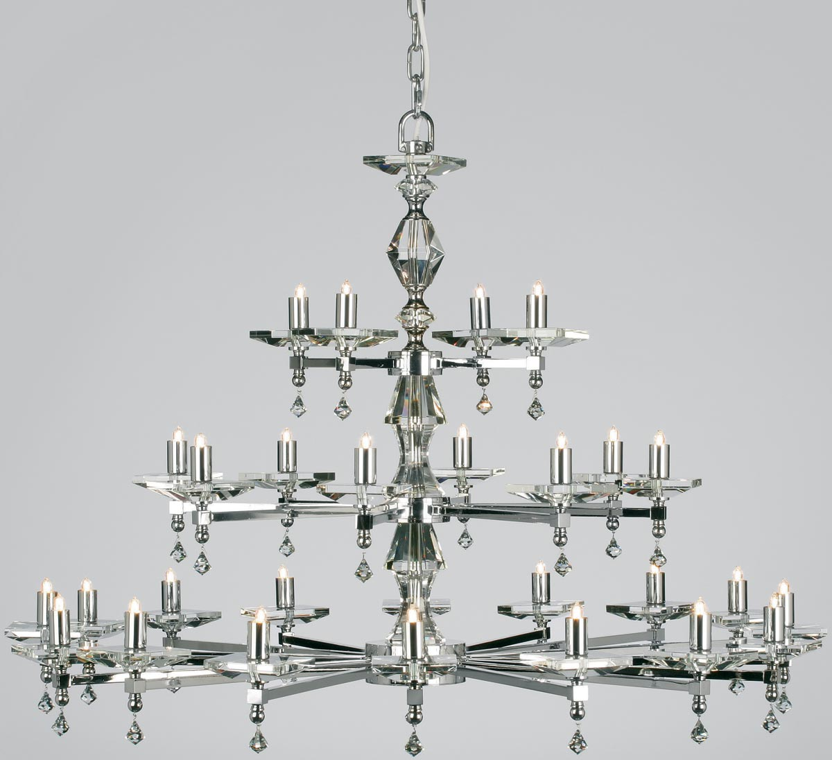 Impex Capri Large Optic Glass 28 Light Chandelier Polished