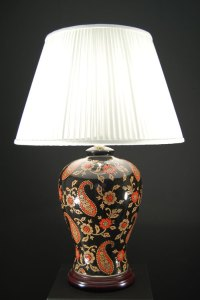 Oriental Red And Gold Paisley Ceramic Table Lamp Cream ...